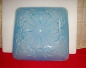 Vintage sky blue ornate 13/12 inch glass lighting fixture cover