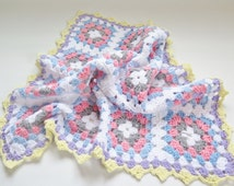 Crochet Baby Blanket Granny Square Baby Afghan Quilt Throw : 71 x 66 cm / 27,9'' x 25,9'' Blue Pink Baby Crib Cover (Ready To Ship) #2-17