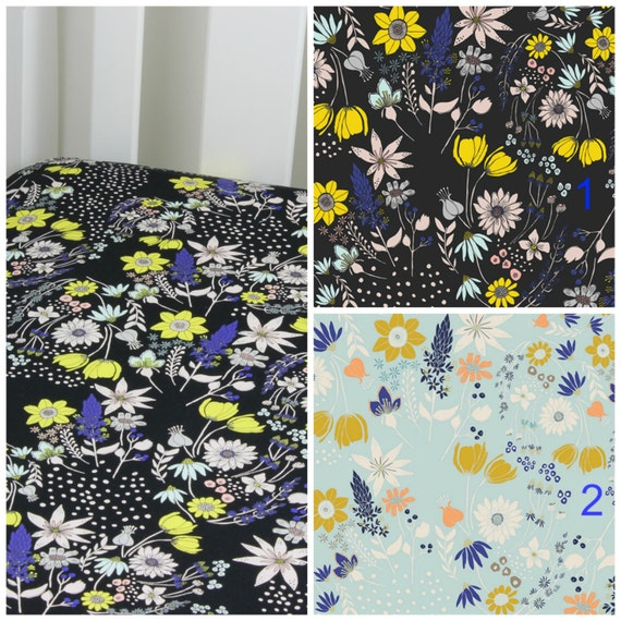 Black Wild Flower Cotton Crib Sheet or Changing Pad Cover Baby Crib Blue Yellow Pink FloralCrib Sheet Contoured Crib Sheet Changing PadCover