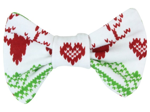 Christmas Fairisle Deer Baby Toddler Hair Bow Clip Christmas Baby Hair Bow Red and Green Deer Bow Clip