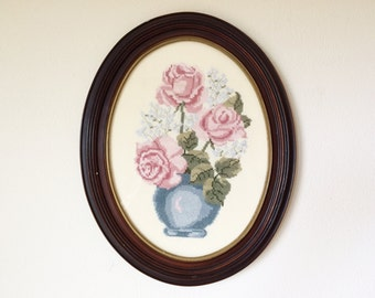 Pink Roses and Baby's Breath in Blue Vase Cross-Stitch in Oval Frame