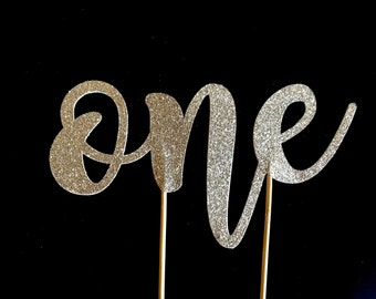 ONE Cake Topper - Double-sided Glitter Gold