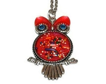 Bubblegum Pink Candy Sprinkle Rockabilly Owl Pendant Necklace