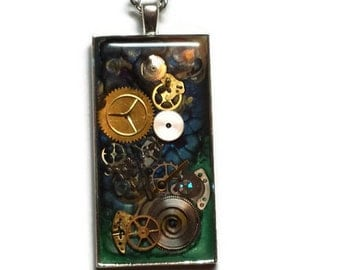 Steampunk Gears Custom Painted Pink, Green and Blue Pendant Necklace