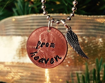 penny from heaven necklace hand stamped