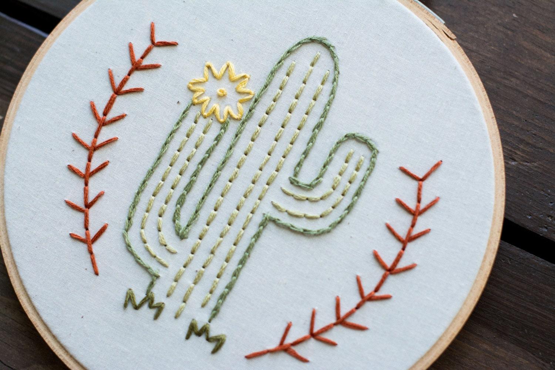 Cactus embroidery hoop art man in