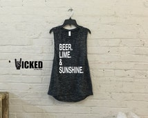 Beer Lime & Sunshine Ultra soft Ladies muscle tank