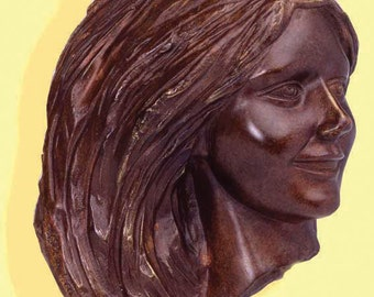 "Small bronze relief - Title: ""Girl smiling"" - 2002 - cm. 30"