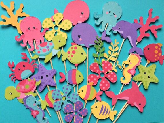 Ocean Cupcake Toppers Huele Ocean Sea Animal Creature