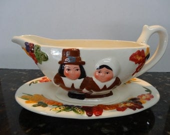 Thanksgiving gravy serving boat,with matching patter,almond porcelainhand painted details
