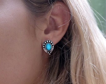 Turquoise studs | turquoise sterling silver earrings | silver studs | silver earrings  | statement studs | turquoise teardrop