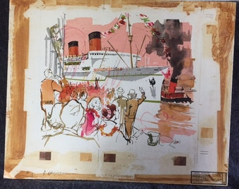 Vintage original illustration art cruise ship