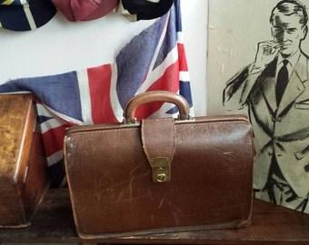 Vintage 1960's Tan Leather Briefcase Doctors Bag School Teacher Briefcase