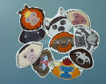 "10 stickers ""heads of primates"""