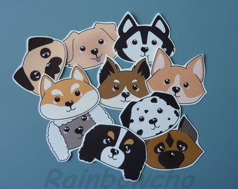 "10 stickers ""heads of dogs"""