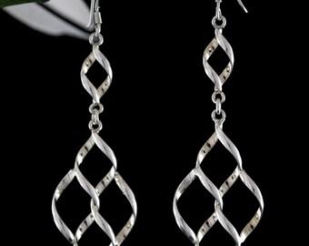 Sterling Silver Dangle Earrings, Long Drop Earrings, Long Silver Earrings
