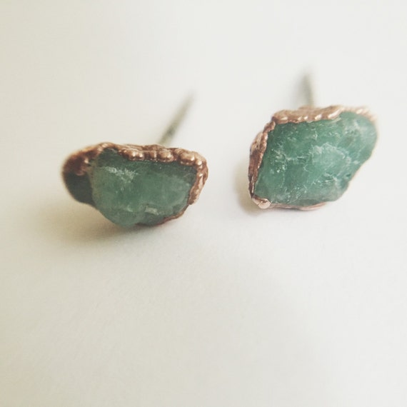 Raw Emerald Stud Earrings Raw Crystal By Lazulihandcrafted