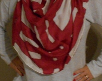 """Silk Scarf, 22""""x72"""", Abstract Collection-red and white"""
