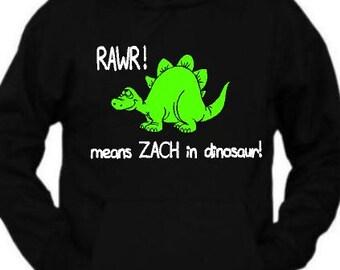 Rawr means (your name) in  dinosaur funny/joke/cute  kids printed hoody hoodie S-XL xmas christmas present