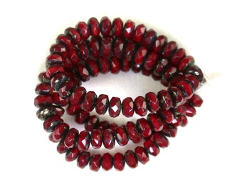 Deep Red opaline w/ picasso smaller 3 x 5mm rondelles. Set of 30 or 60.