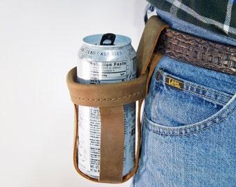 Water bottle Holder * Leather Drink Holder * Genuine leather * Belt holster for Water, Soda, Pop, Beer Holster or your Favorite drink* Gift