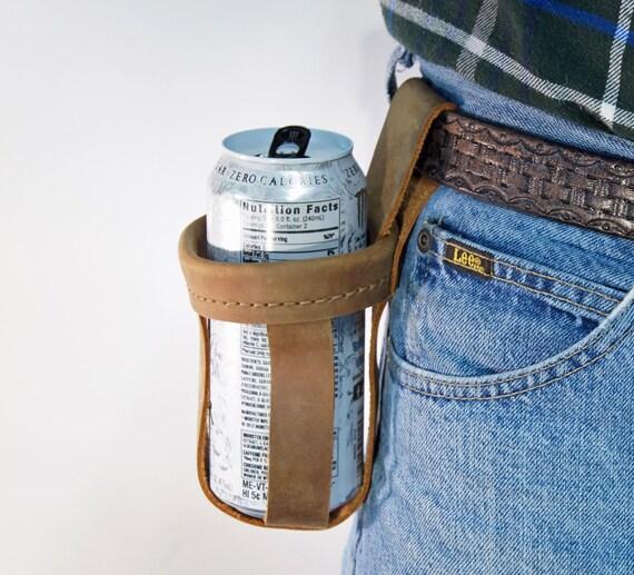 Water Bottle Holster: Water Bottle Holder Leather Drink Holder Genuine Leather