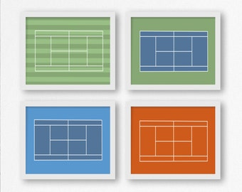 Tennis Court Prints: Wimbledon, French Open, US Open, and Australian Open Wall Art, Nursery Decor, Tennis Party, Gift for Coach