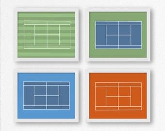 Tennis Court Prints / Tennis Printable / Wimbledon, French Open, US Open, Australian Open Wall Art / Grand Slam / Gift for Coach