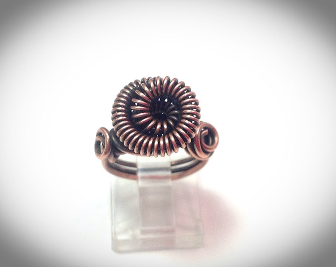 """Wire wrapped copper coil """"Tesla"""" ring"""