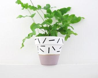 Mauve Dash Plant Pot - 11cm