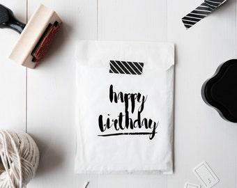 Happy Birthday Stamp, Handlettered Happy Birthday Stamp, Handwritten Happy Birthday Stamp