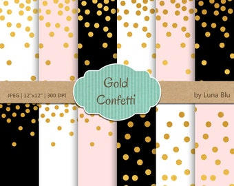 "Gold Confetti Digital Paper: ""Gold Foil Confetti"" Blush and Gold, Black Blush White and Gold Foil Scrapbook Paper, Gold Confetti"