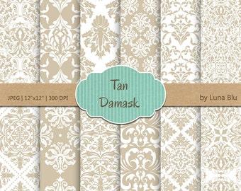 "Tan Damask Digital Paper: ""Tan Damask Patterns"" tan digital paper, neutral damasks for cardmaking, invitations, tan scrapbooking paper"