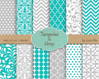 "Turquoise and Gray Digital Paper: ""Turquoise and Gray Patterns""  for invitations, scrapbooking, cardmaking, crafts"