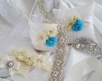 Wedding Accessories, Bridal Accessories, Bridal Belt, Bridal Garter Set, Bridal Hair Comb, Flower Girl Basket, Ring Bearer Pillow