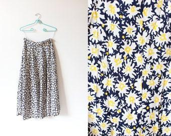 vintage skirt 90's grunge daisy floral print maxi 1990's women's clothing size medium m