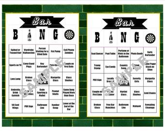 30 Bar BINGO Cards - Pub Crawl BINGO - Bar Crawl BINGO - Birthdays - Bachelor/ette Parties - Girls'/Guys' Night Out - Instant Download