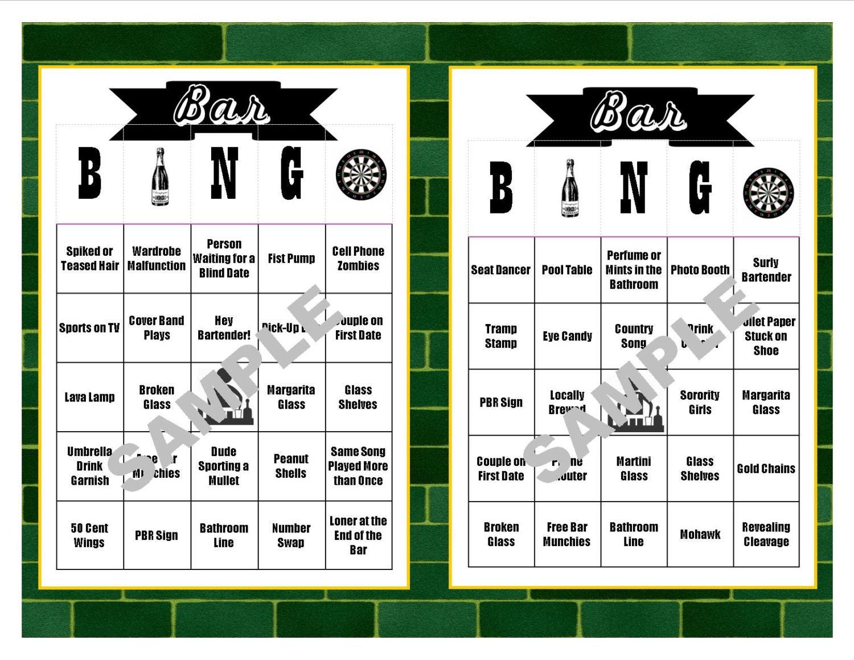 30 Bar Bingo Cards Pub Crawl Bingo Bar Crawl Bingo