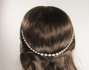 Swarovski pearl and crystal hair drape.Perfect to drape on a low updo or bun,or as a browband.Versatile hair accessory.Choice of 31 colours.