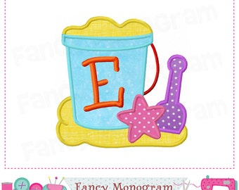 Beach Bucket letter E applique,Summer Beach Monogram E applique,Beach Bucket applique,E,Beach Bucket,Font E,Summer applique,E,Beach design.