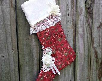 Shabby Cottage Christmas Stocking - Handmade - FAAP, HAFAIR, OFG, TeamHaHa