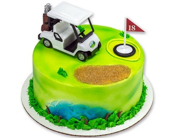 Heading for the Green White Golf Cart Decorating Kit Topper Decoration Party Bakery Supplies golfing golfer Father's Day