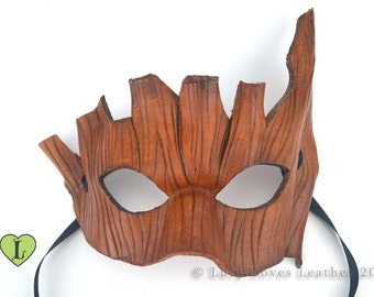 Tree Bark Mask, Leather Masquerade, Masked Ball, Druid Cosplay, LARP Mask, Brown Leather Mask, Tree Costume