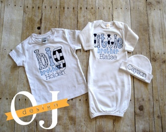 Baby boy nautical etsy big brother little brother personalized baby boy nautical newborn gift set name boy navy and negle Images