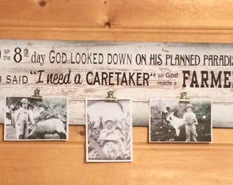 And on 8th Day God Made A Farmer Paul Harvey Photo Clip Frame - Christmas, Father's Day, FFA, Wedding, Farmhouse Decor