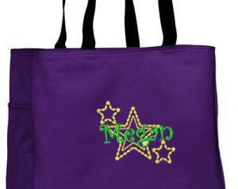 Personalized Tote Bag Embroidered Tote Bag Custom Tote Bag - Sports - Stars with Name - B0750