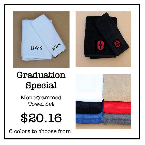 2016 Graduation Special Set Of Monogrammed Towels White