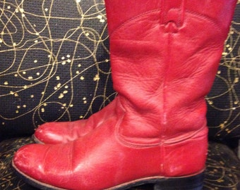 Red cowboy boots | Women's size 7 | Made by J. Chisolm