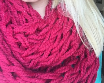 Red Sparkle Armknit Scarf