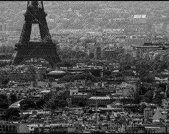 Black and White, Paris Photography, Paris France Photography , Fine Art Photography, Paris Pictures, Eiffel Tower from Sacre Coeur, 7th Arr.